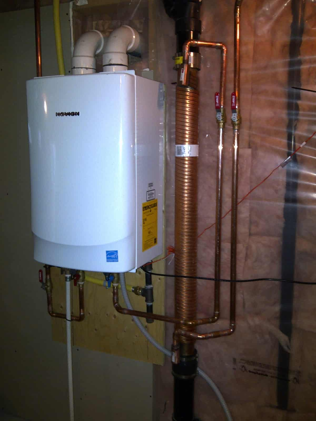 drain water heat recovery and a tankless